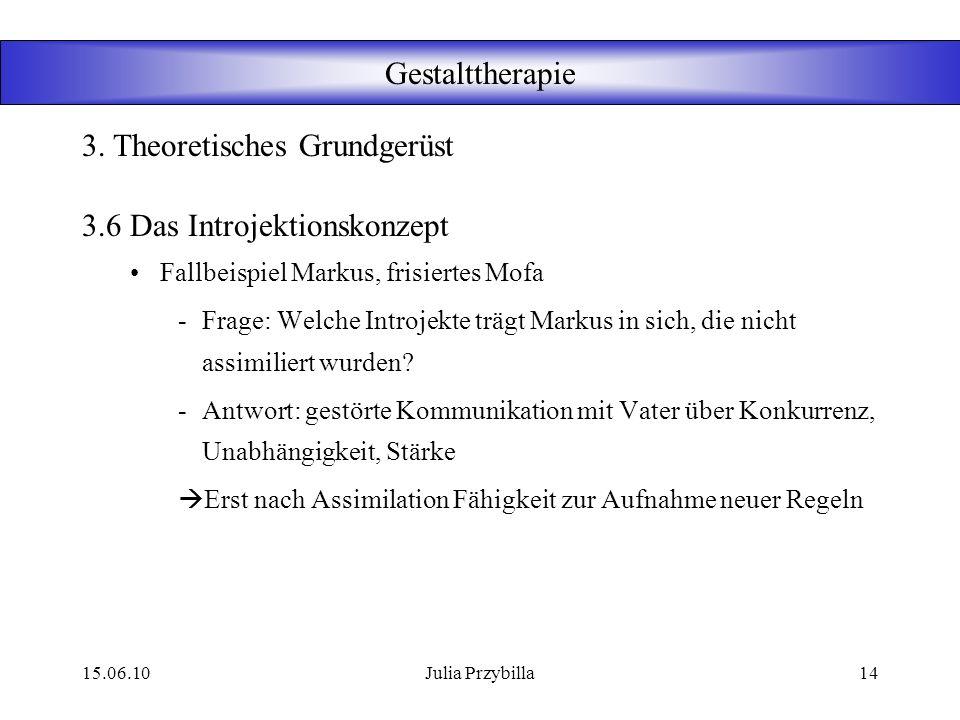 15.06.10Julia Przybilla13 Gestalttherapie 3.6 Das Introjektionskonzept Introjekte: verinnerlichte Normen und Wertesysteme von Eltern und Institutionen