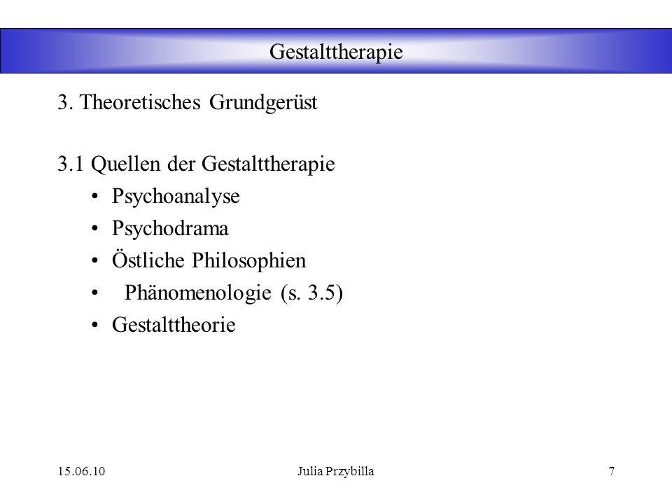 15.06.10Julia Przybilla6 Gestalttherapie 3.1 Quellen der Gestalttherapie 3.2 Konzepte der Gestalttherapie 3.3 Kontaktgrenze 3.4Anthropologie 3.5 Phäno