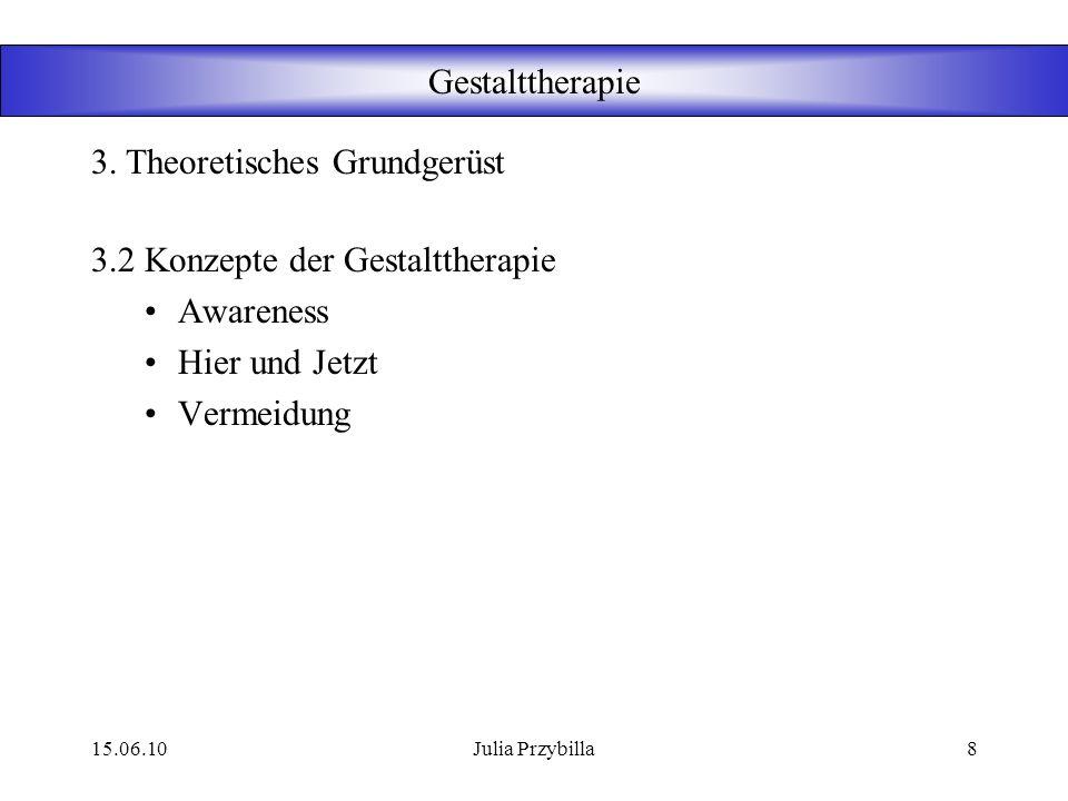 15.06.10Julia Przybilla7 Gestalttherapie 3.1 Quellen der Gestalttherapie Psychoanalyse Psychodrama Östliche Philosophien Phänomenologie (s. 3.5) Gesta