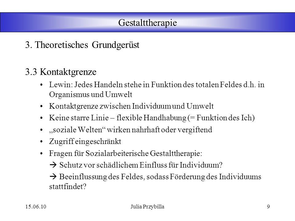 15.06.10Julia Przybilla8 Gestalttherapie 3.2 Konzepte der Gestalttherapie Awareness Hier und Jetzt Vermeidung 3. Theoretisches Grundgerüst