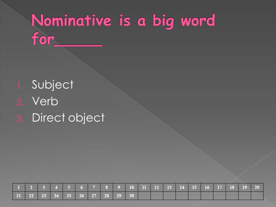 1. Subject 2. Verb 3. Direct object 1234567891011121314151617181920 21222324252627282930
