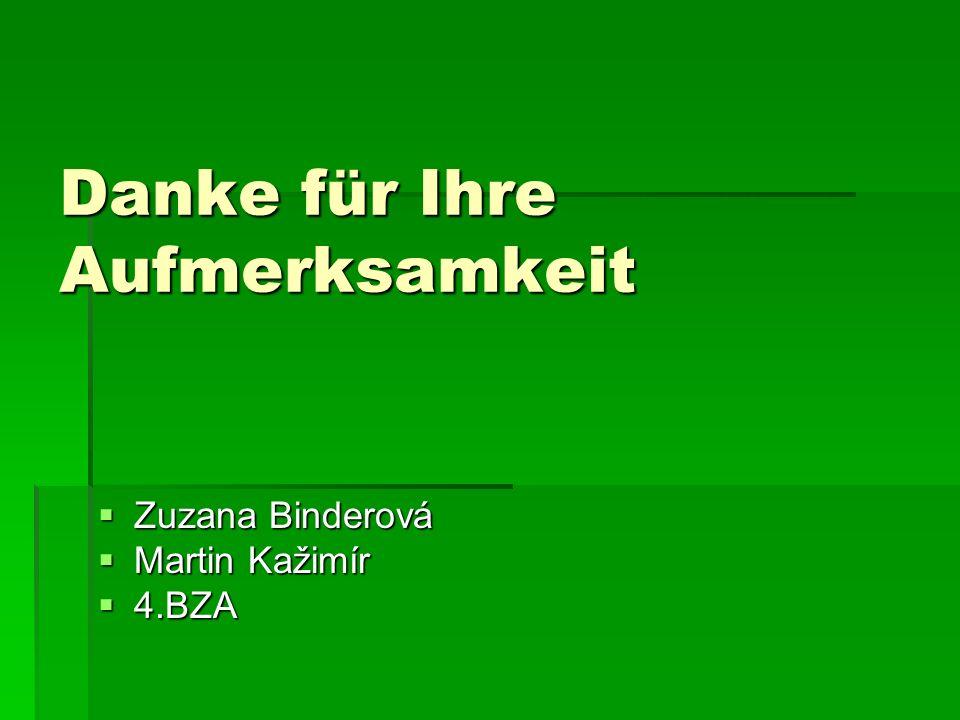 Danke für Ihre Aufmerksamkeit Zuzana Binderová Zuzana Binderová Martin Kažimír Martin Kažimír 4.BZA 4.BZA