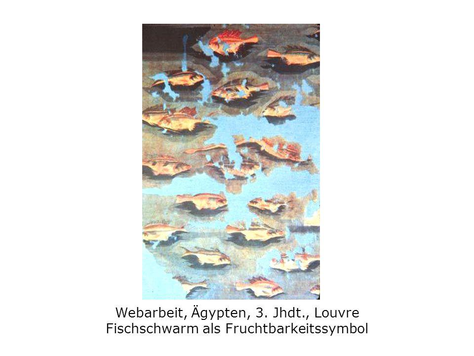 Webarbeit, Ägypten, 3. Jhdt., Louvre Fischschwarm als Fruchtbarkeitssymbol