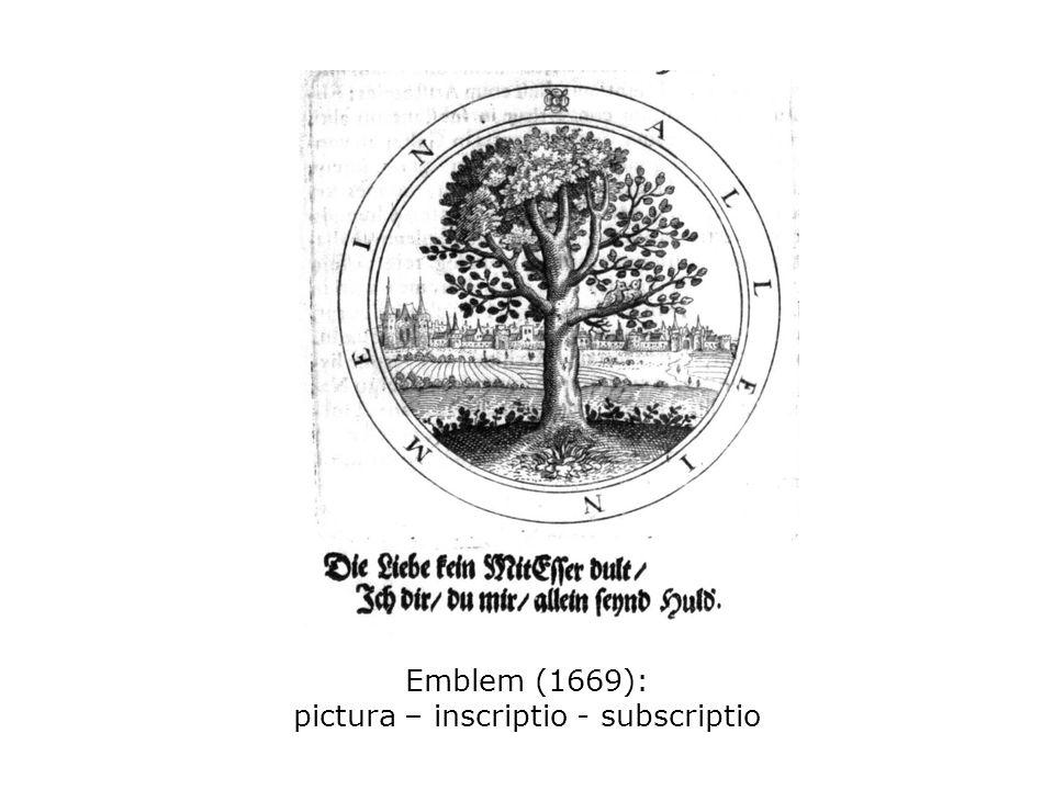 Emblem (1669): pictura – inscriptio - subscriptio
