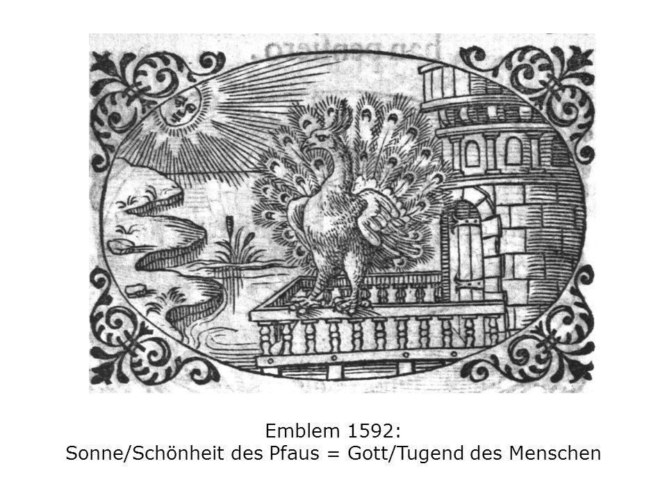 Emblem 1592: Sonne/Schönheit des Pfaus = Gott/Tugend des Menschen