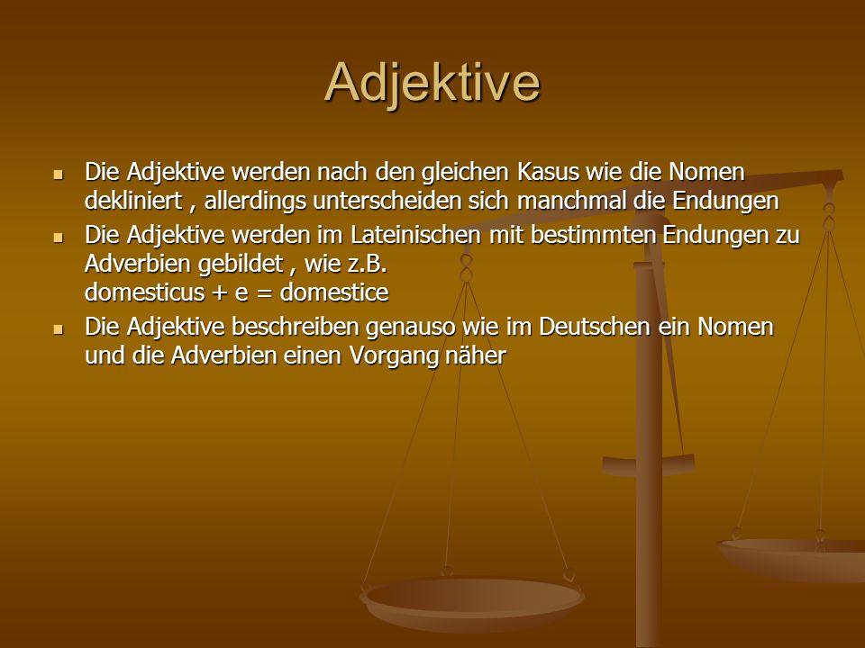 Adjektive Die Adjektive werden nach den gleichen Kasus wie die Nomen dekliniert, allerdings unterscheiden sich manchmal die Endungen Die Adjektive wer