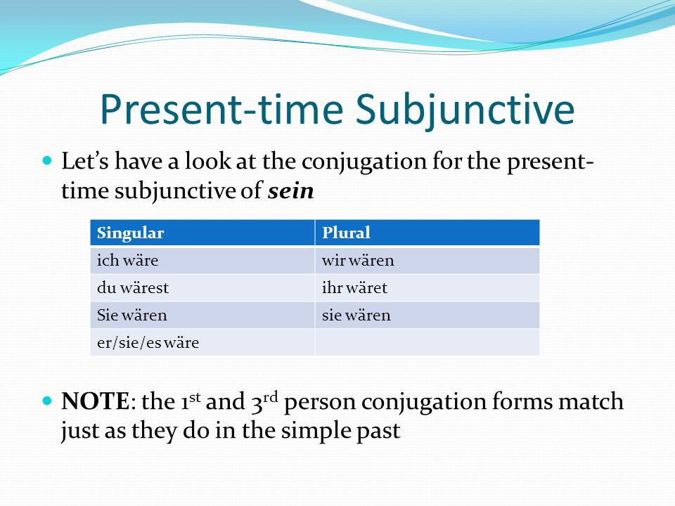 Present-time Subjunctive examples Present Tense Present-time Subjunctive Ich bin immer so spät.