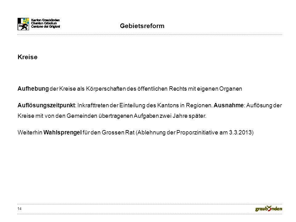 14 Kreise Aufhebung der Kreise als Körperschaften des öffentlichen Rechts mit eigenen Organen Auflösungszeitpunkt: Inkrafttreten der Einteilung des Kantons in Regionen.
