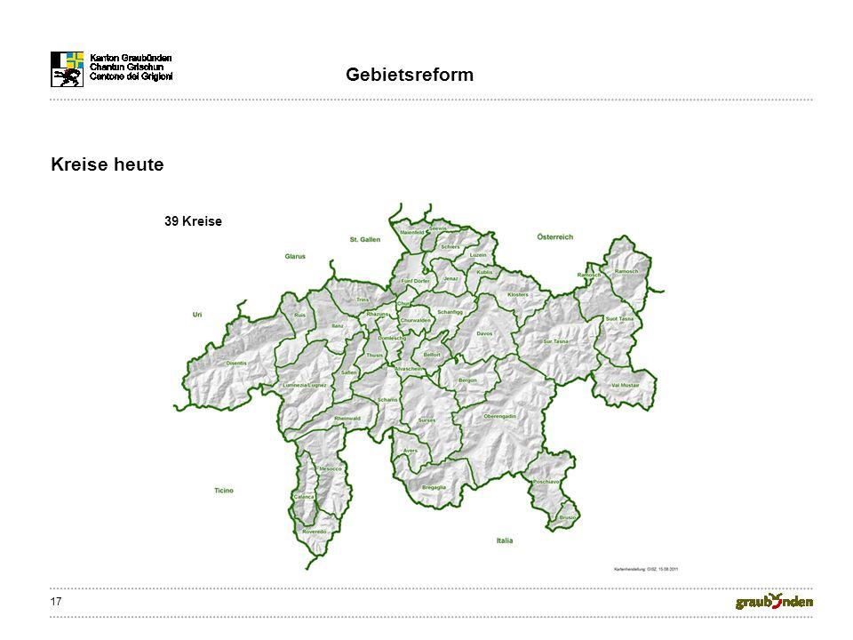 17 Kreise heute Gebietsreform 39 Kreise