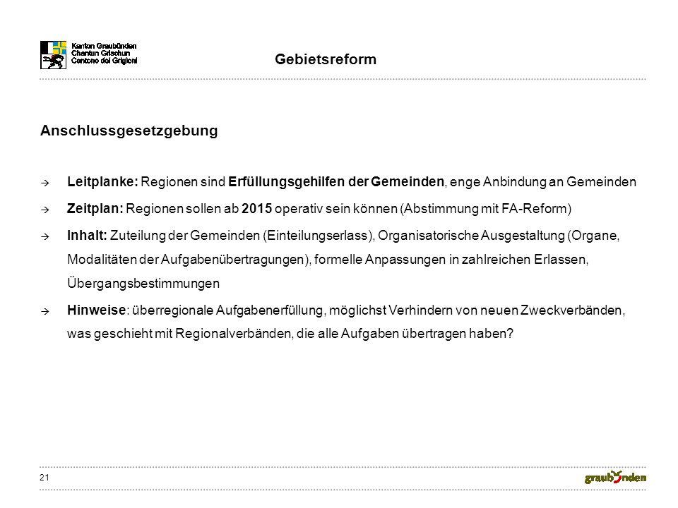 21 Anschlussgesetzgebung Leitplanke: Regionen sind Erfüllungsgehilfen der Gemeinden, enge Anbindung an Gemeinden Zeitplan: Regionen sollen ab 2015 ope