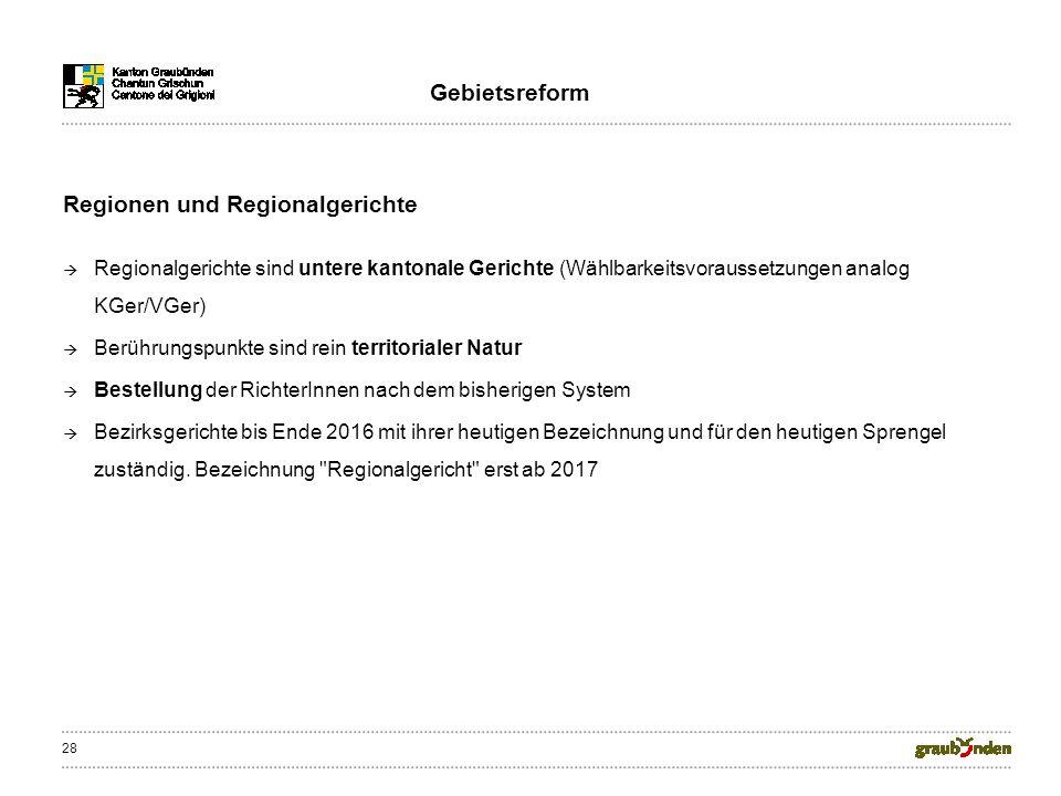 28 Regionen und Regionalgerichte Regionalgerichte sind untere kantonale Gerichte (Wählbarkeitsvoraussetzungen analog KGer/VGer) Berührungspunkte sind rein territorialer Natur Bestellung der RichterInnen nach dem bisherigen System Bezirksgerichte bis Ende 2016 mit ihrer heutigen Bezeichnung und für den heutigen Sprengel zuständig.