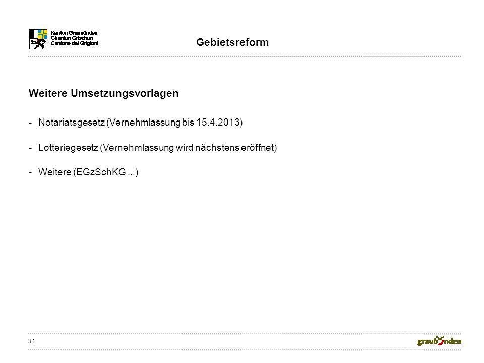 31 Weitere Umsetzungsvorlagen Gebietsreform -Notariatsgesetz (Vernehmlassung bis 15.4.2013) -Lotteriegesetz (Vernehmlassung wird nächstens eröffnet) -Weitere (EGzSchKG...)