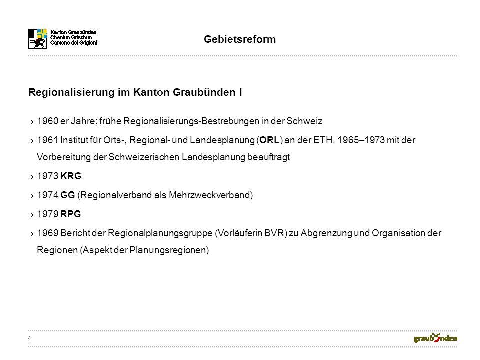 4 1960 er Jahre: frühe Regionalisierungs-Bestrebungen in der Schweiz 1961 Institut für Orts-, Regional- und Landesplanung (ORL) an der ETH.