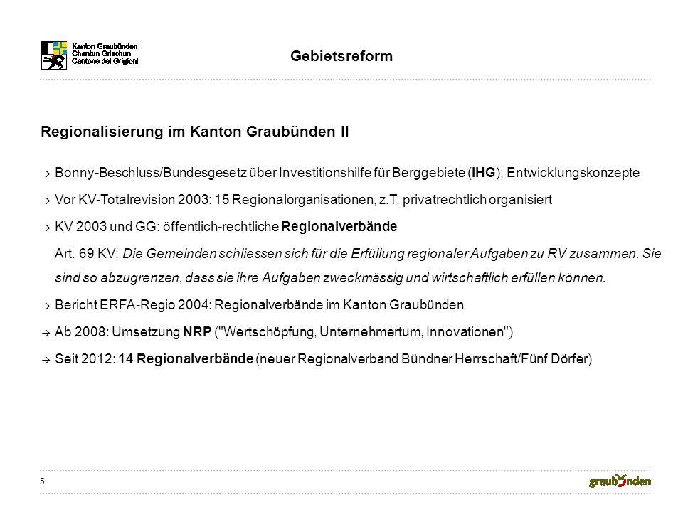5 Bonny-Beschluss/Bundesgesetz über Investitionshilfe für Berggebiete (IHG); Entwicklungskonzepte Vor KV-Totalrevision 2003: 15 Regionalorganisationen, z.T.