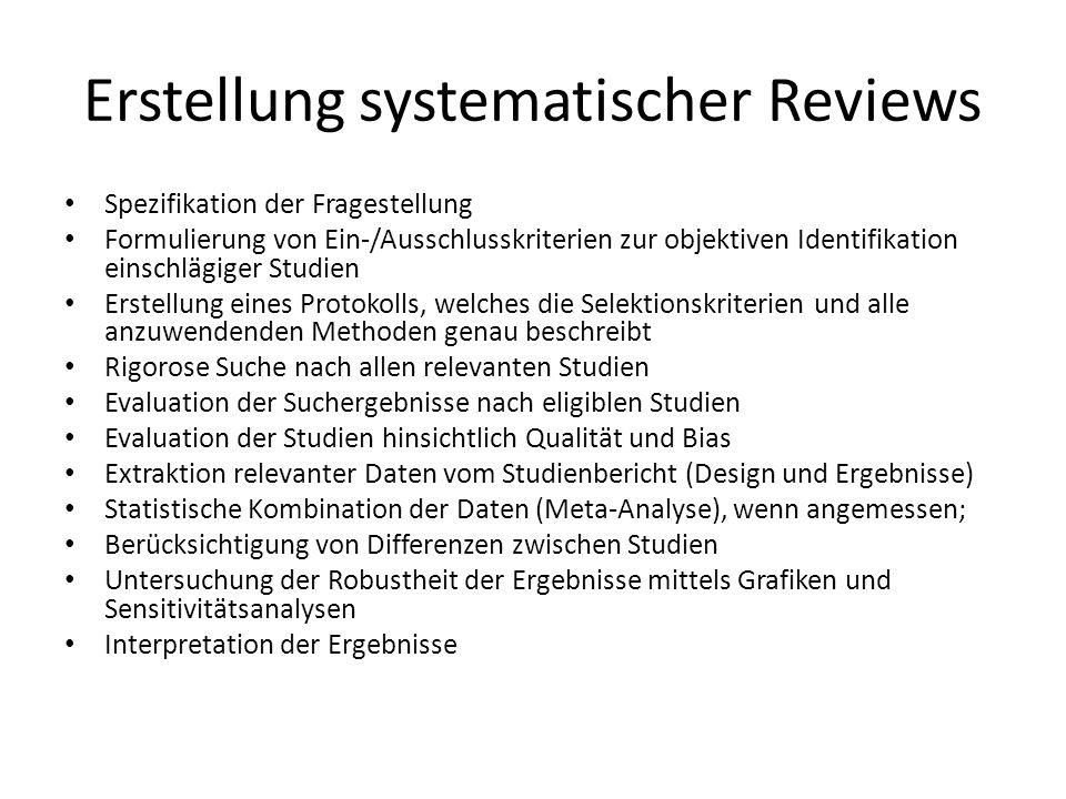 Erstellung systematischer Reviews Spezifikation der Fragestellung Formulierung von Ein-/Ausschlusskriterien zur objektiven Identifikation einschlägige