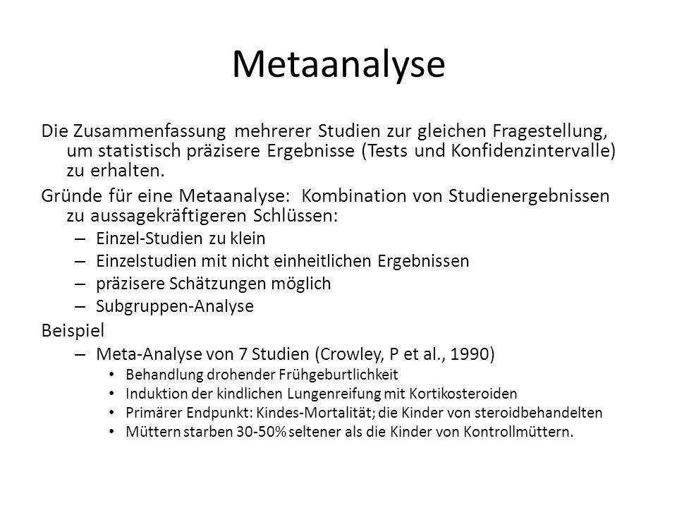 Metaanalyse Die Zusammenfassung mehrerer Studien zur gleichen Fragestellung, um statistisch präzisere Ergebnisse (Tests und Konfidenzintervalle) zu erhalten.