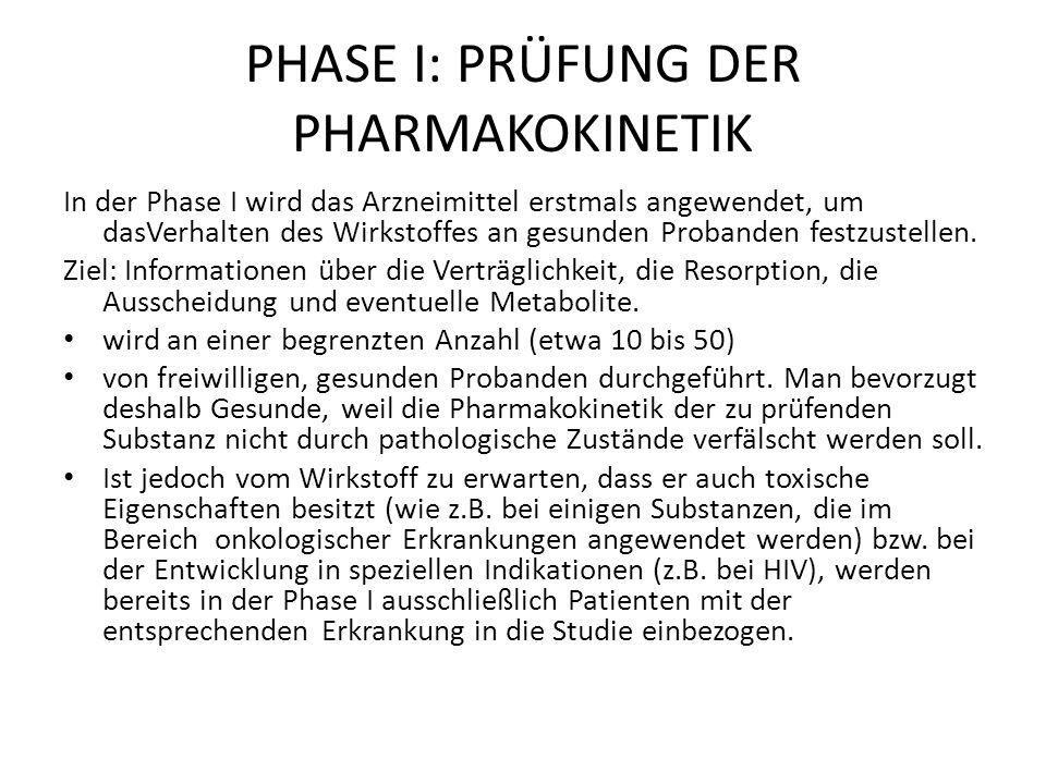 PHASE I: PRÜFUNG DER PHARMAKOKINETIK In der Phase I wird das Arzneimittel erstmals angewendet, um dasVerhalten des Wirkstoffes an gesunden Probanden festzustellen.