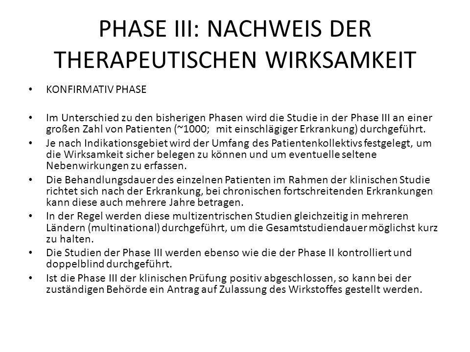 PHASE III: NACHWEIS DER THERAPEUTISCHEN WIRKSAMKEIT KONFIRMATIV PHASE Im Unterschied zu den bisherigen Phasen wird die Studie in der Phase III an einer großen Zahl von Patienten (~1000; mit einschlägiger Erkrankung) durchgeführt.