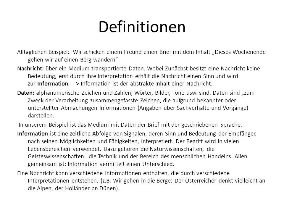 Definitionen Wissen knüpft Informationen sinngebend aneinander.