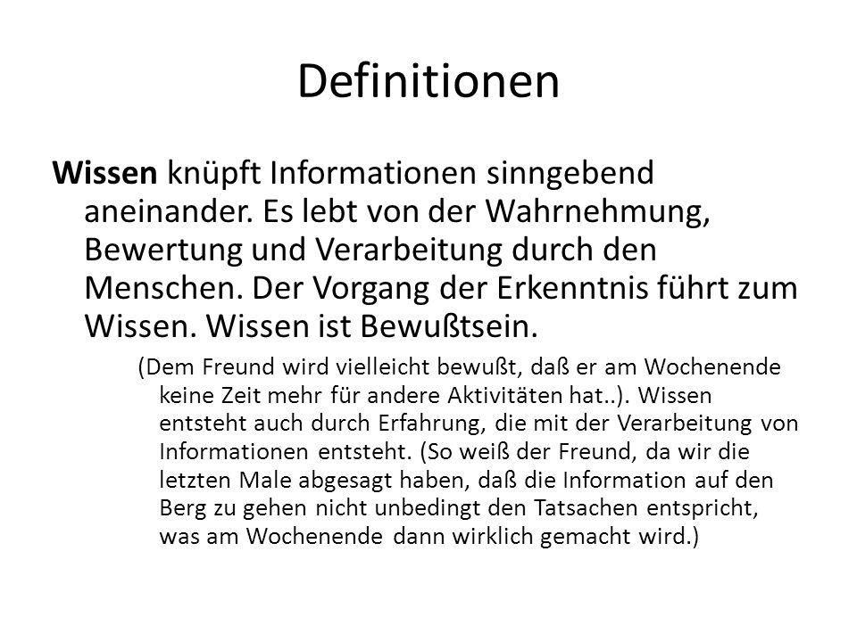 Definitionen Wissen knüpft Informationen sinngebend aneinander. Es lebt von der Wahrnehmung, Bewertung und Verarbeitung durch den Menschen. Der Vorgan