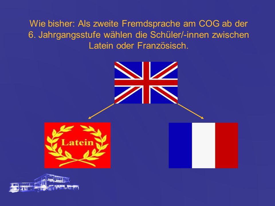 Wie bisher: Als zweite Fremdsprache am COG ab der 6. Jahrgangsstufe wählen die Schüler/-innen zwischen Latein oder Französisch.