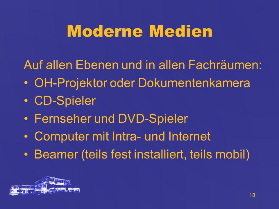 18 Moderne Medien Auf allen Ebenen und in allen Fachräumen: OH-Projektor oder Dokumentenkamera CD-Spieler Fernseher und DVD-Spieler Computer mit Intra