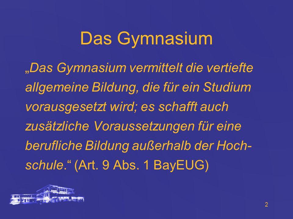 2 Das Gymnasium Das Gymnasium vermittelt die vertiefte allgemeine Bildung, die für ein Studium vorausgesetzt wird; es schafft auch zusätzliche Vorauss