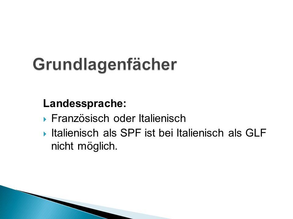 Landessprache: Französisch oder Italienisch Italienisch als SPF ist bei Italienisch als GLF nicht möglich.