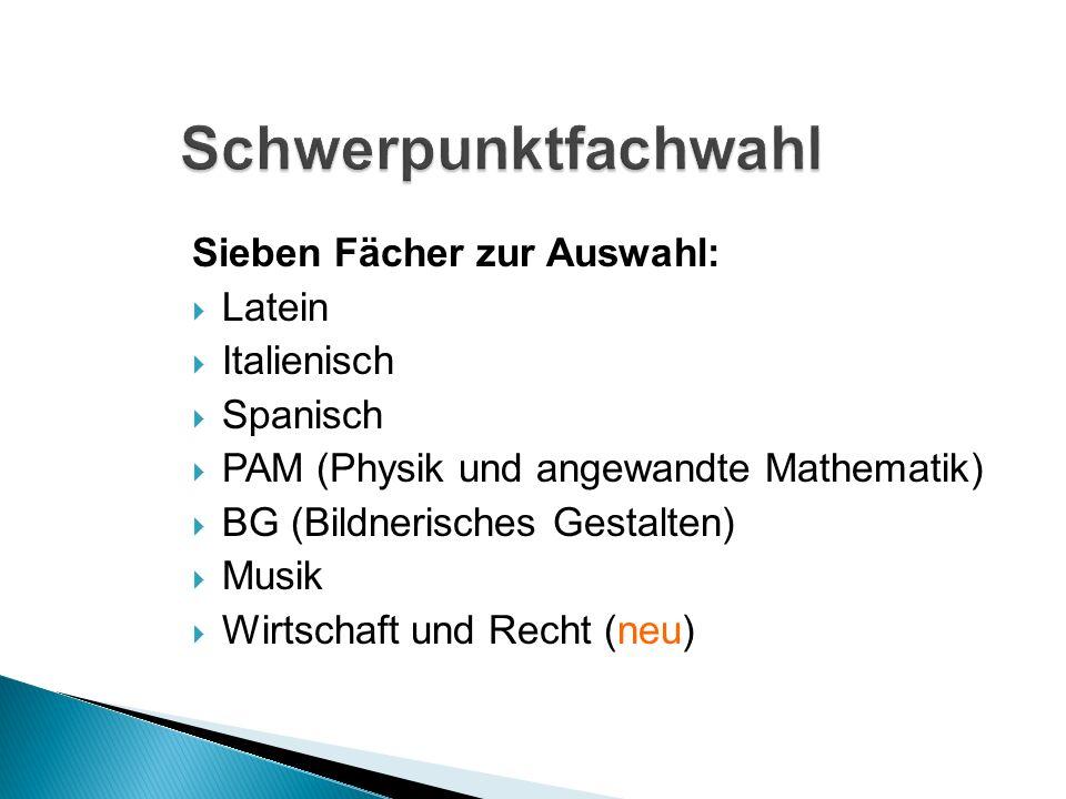 Sieben Fächer zur Auswahl: Latein Italienisch Spanisch PAM (Physik und angewandte Mathematik) BG (Bildnerisches Gestalten) Musik Wirtschaft und Recht (neu)