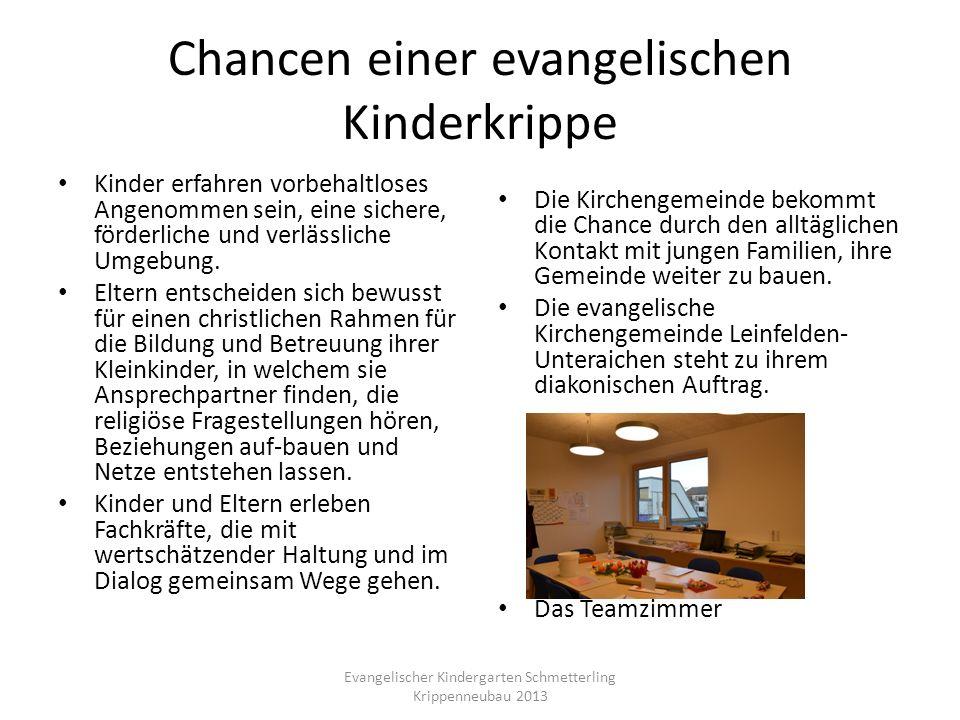 Chancen einer evangelischen Kinderkrippe Kinder erfahren vorbehaltloses Angenommen sein, eine sichere, förderliche und verlässliche Umgebung. Eltern e