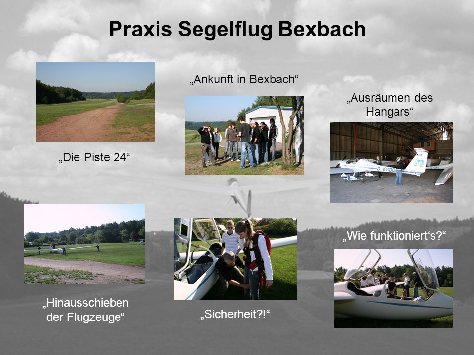 Praxis Segelflug Bexbach Ankunft in Bexbach Die Piste 24 Ausräumen des Hangars Wie funktionierts? Hinausschieben der Flugzeuge Sicherheit?!