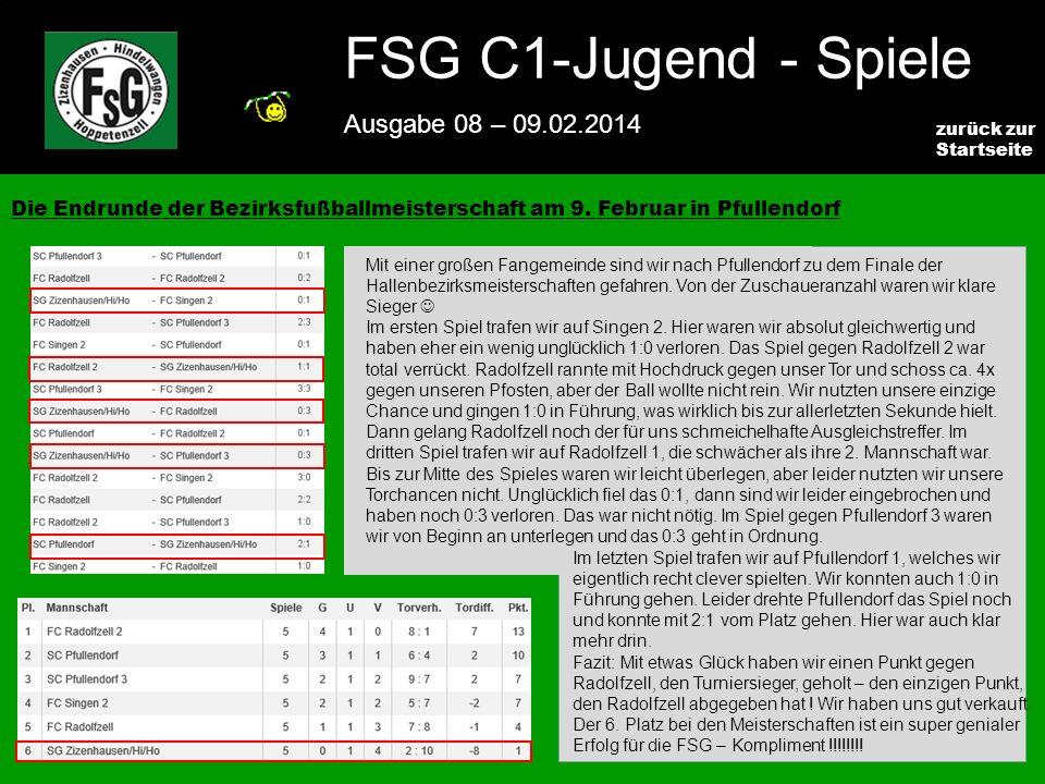 FSG E-Jugend - NEWS Ausgabe 4 – 28.11.2009 3 zurück zur Startseite FSG C1-Jugend - Spiele Ausgabe 08 – 09.02.2014 Die Endrunde der Bezirksfußballmeisterschaft am 9.