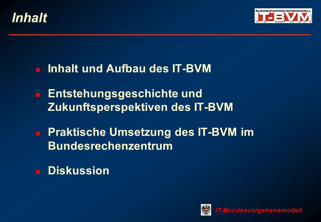 Inhalt Inhalt und Aufbau des IT-BVM Entstehungsgeschichte und Zukunftsperspektiven des IT-BVM Praktische Umsetzung des IT-BVM im Bundesrechenzentrum D