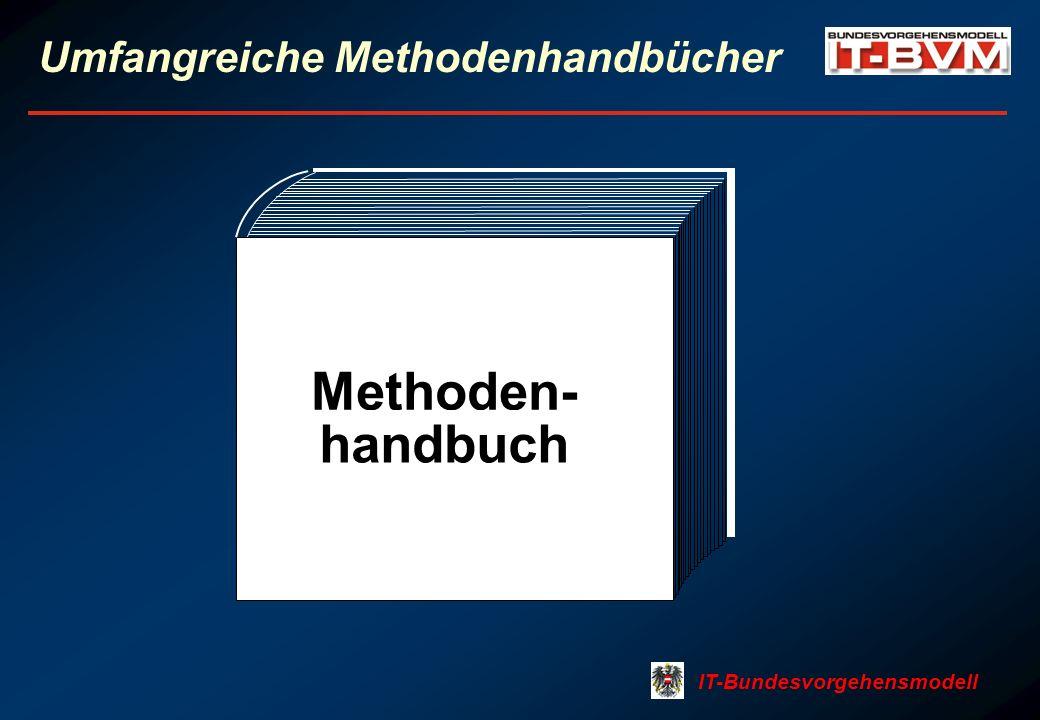 IT-Bundesvorgehensmodell Umfangreiche Methodenhandbücher Methoden- handbuch