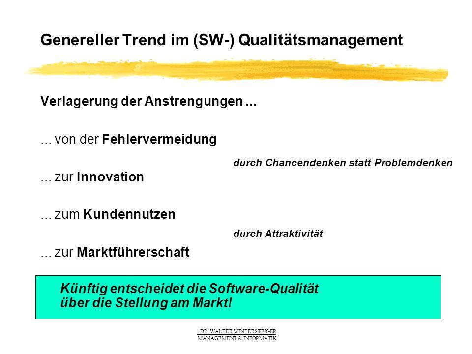 DR. WALTER WINTERSTEIGER MANAGEMENT & INFORMATIK Genereller Trend im (SW-) Qualitätsmanagement Verlagerung der Anstrengungen...... von der Fehlerverme