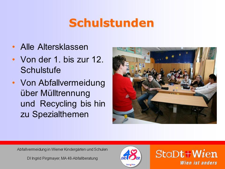 Schulstunden Alle Altersklassen Von der 1. bis zur 12. Schulstufe Von Abfallvermeidung über Mülltrennung und Recycling bis hin zu Spezialthemen Abfall