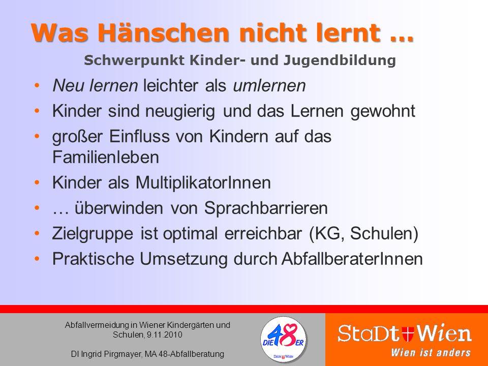 Abfallvermeidung in Wiener Kindergärten und Schulen, 9.11.2010 DI Ingrid Pirgmayer, MA 48-Abfallberatung Was Hänschen nicht lernt … Was Hänschen nicht