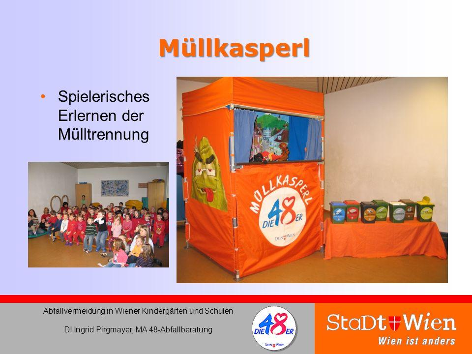 Müllkasperl Spielerisches Erlernen der Mülltrennung Abfallvermeidung in Wiener Kindergärten und Schulen DI Ingrid Pirgmayer, MA 48-Abfallberatung