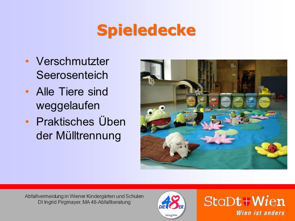 Spieledecke Verschmutzter Seerosenteich Alle Tiere sind weggelaufen Praktisches Üben der Mülltrennung Abfallvermeidung in Wiener Kindergärten und Schu
