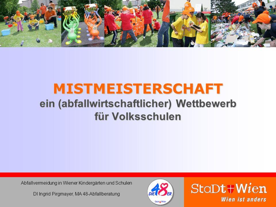 MISTMEISTERSCHAFT ein (abfallwirtschaftlicher) Wettbewerb für Volksschulen Abfallvermeidung in Wiener Kindergärten und Schulen DI Ingrid Pirgmayer, MA