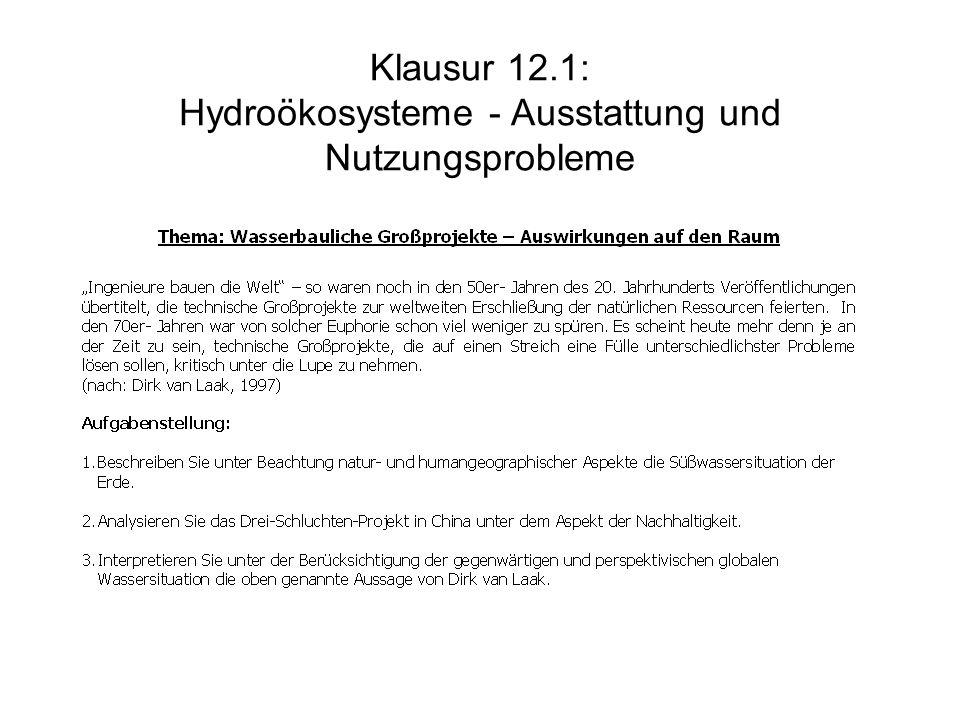 Klausur 12.1: Hydroökosysteme - Ausstattung und Nutzungsprobleme