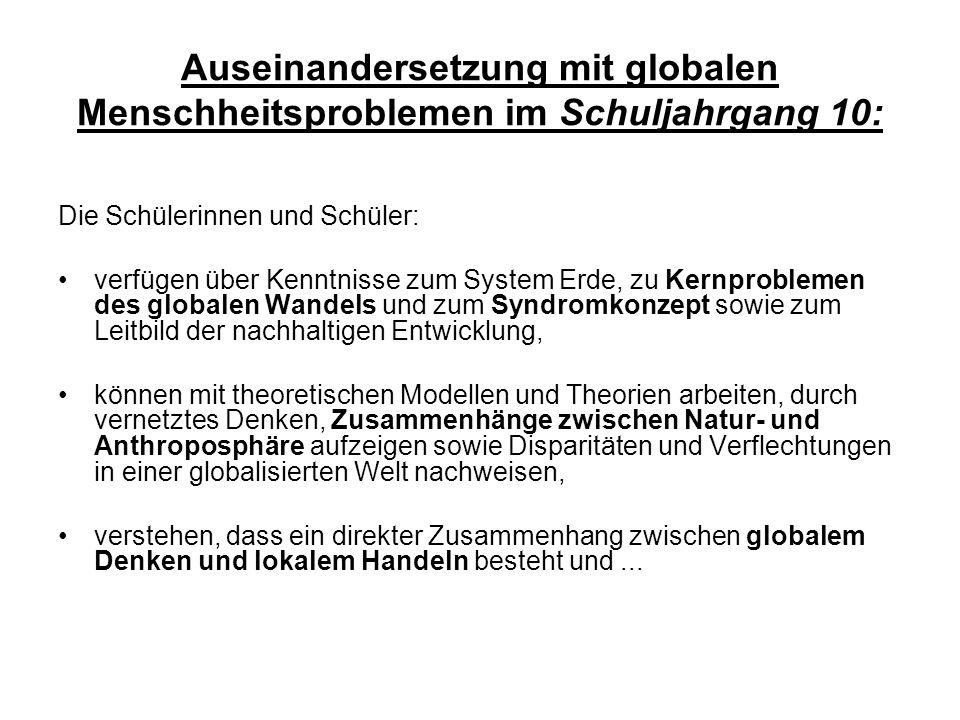 Auseinandersetzung mit globalen Menschheitsproblemen im Schuljahrgang 10: Die Schülerinnen und Schüler: verfügen über Kenntnisse zum System Erde, zu K
