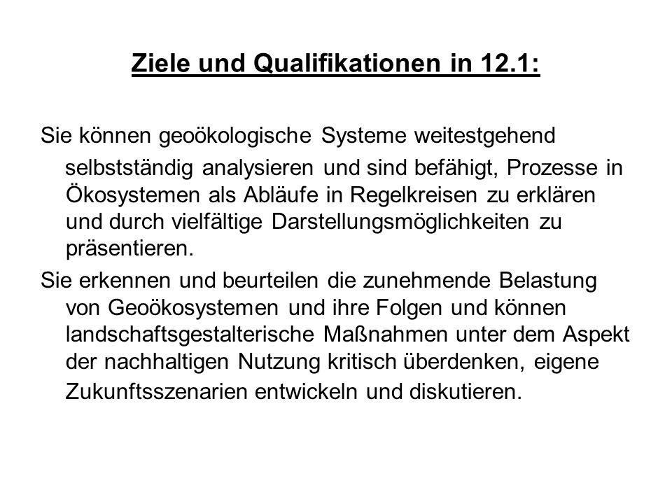Ziele und Qualifikationen in 12.1: Sie können geoökologische Systeme weitestgehend selbstständig analysieren und sind befähigt, Prozesse in Ökosysteme