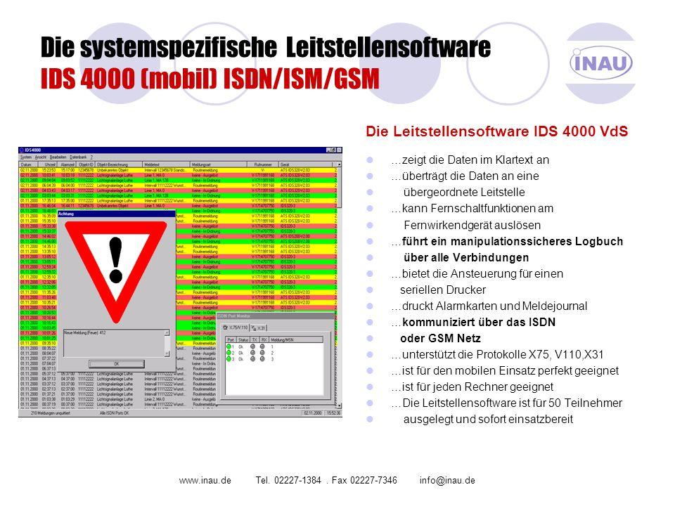 Die systemspezifische Leitstellensoftware IDS 4000 (mobil) ISDN/ISM/GSM Die Leitstellensoftware IDS 4000 VdS …zeigt die Daten im Klartext an …überträg