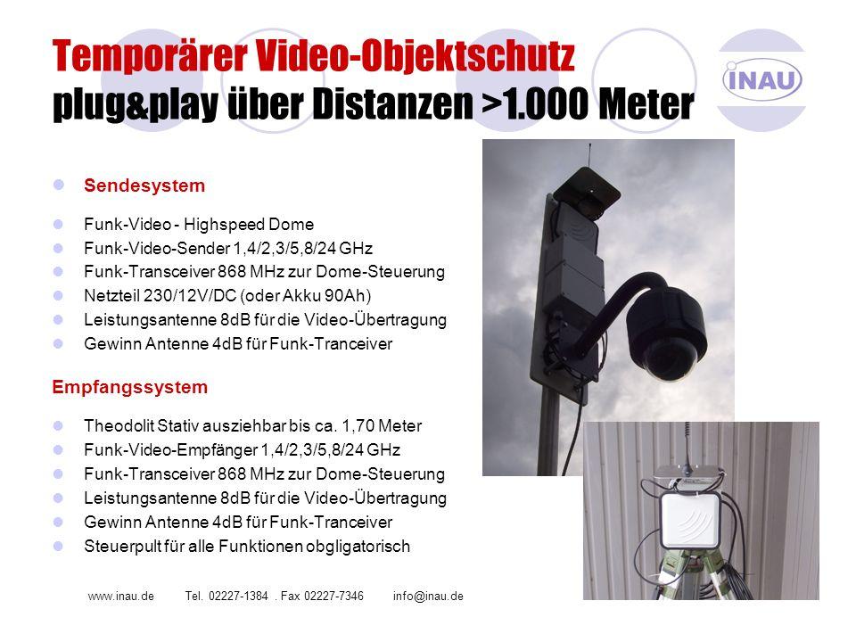 Temporärer Video-Objektschutz plug&play über Distanzen >1.000 Meter Sendesystem Funk-Video - Highspeed Dome Funk-Video-Sender 1,4/2,3/5,8/24 GHz Funk-