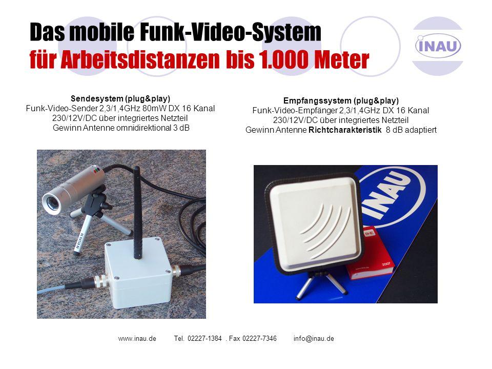 Das mobile Funk-Video-System für Arbeitsdistanzen bis 1.000 Meter Sendesystem (plug&play) Funk-Video-Sender 2,3/1,4GHz 80mW DX 16 Kanal 230/12V/DC übe