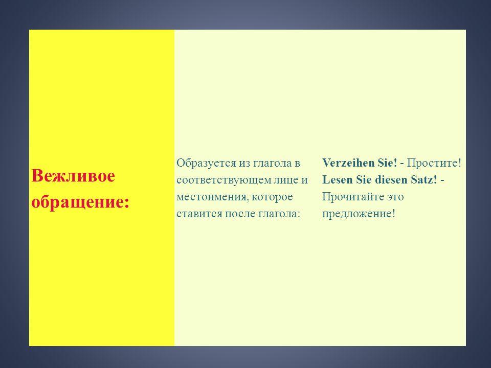 Вежливое обращение: Образуется из глагола в соответствующем лице и местоимения, которое ставится после глагола: Verzeihen Sie! - Простите! Lesen Sie d