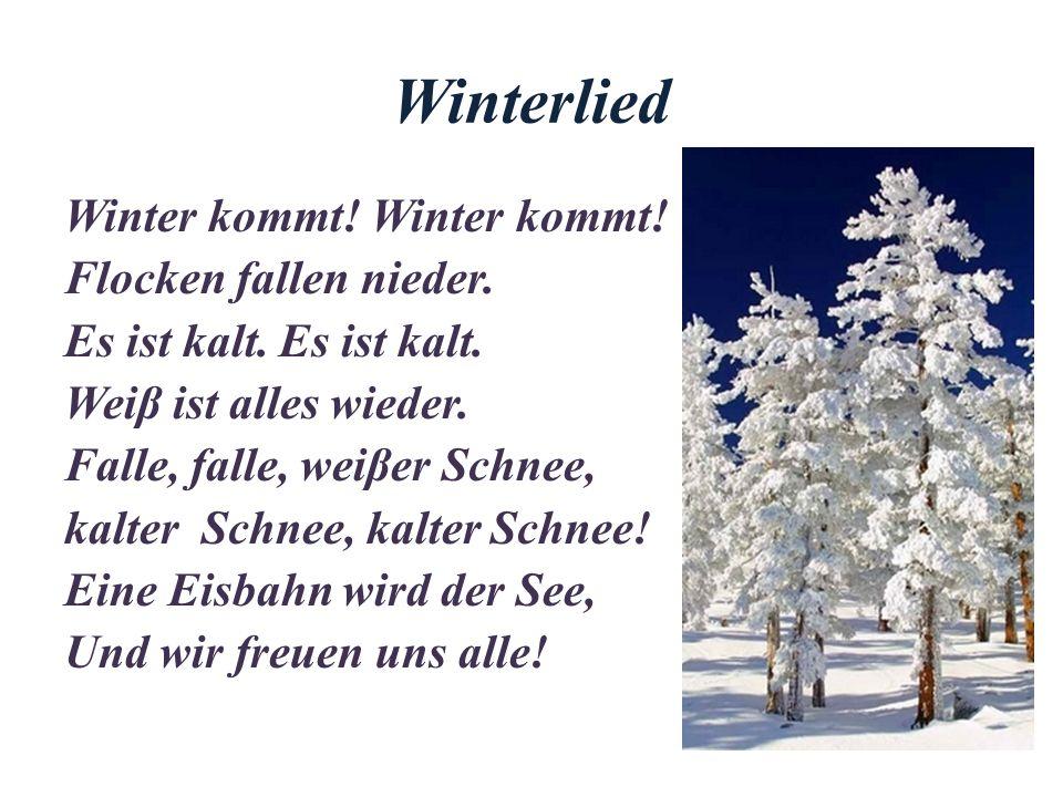 Winterlied Winter kommt.Flocken fallen nieder. Es ist kalt.