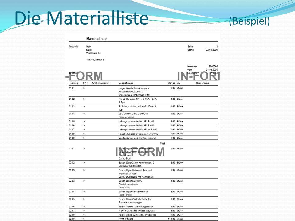 Die Materialliste (Beispiel)