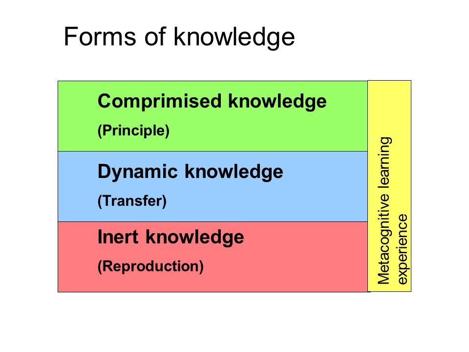 Form of knowledge ActivityMeans of processesing Material Inert knowledge (Reproduction) Classification, organisation Making available Learning by heart Laying down the memory trail Notes, cards Dynamic knowledge (Transfer) Drawing, summarizing, self -explanation, additional pictures, films, reading other texts, explaining preparations Recognition and interpretation Speaking Networking Books, texts, newspapers, films, internet sites, picture books Unstable knowledge (Principle) Communicate, reflect, research, trial error experimentation Drawing of schema/pattern/diagram Recognition of fundamentals Abstraction Pencil and paper (someone to talk to) Metacognitive learning experience From information to principle